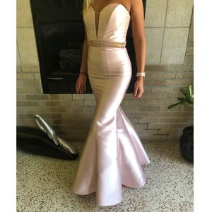 pale pink strapless open back mermaid prom dress